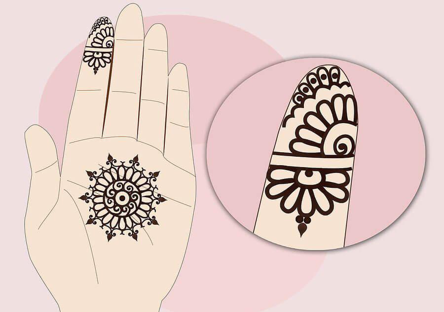 طرح حنا هندی روی دست
