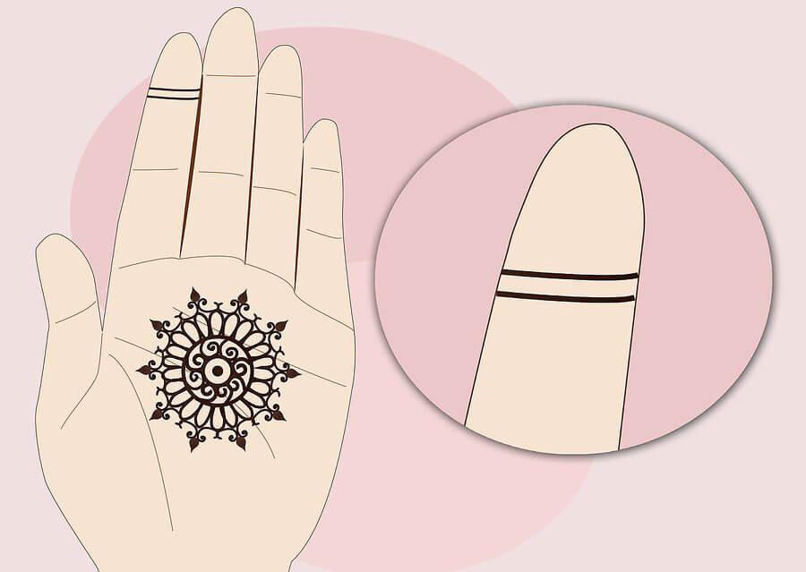 کشیدن دو خط روی انگشت