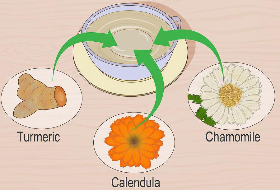 چایی از زردچوبه، کالندولا و بابونه تهیه کنید