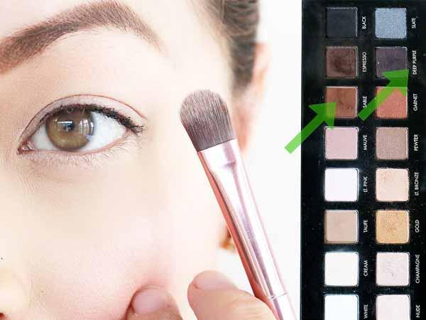 ترکیب سایه چشم قهوه ای و بنفش برای چشم روشن